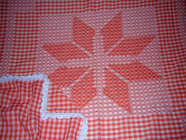 Tangerine white smocked gingham tablecloth star crochet embroidered hc1068