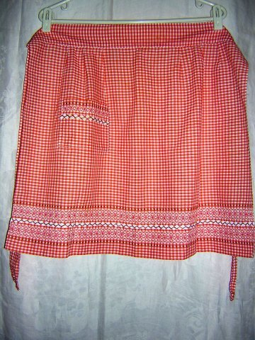 Embroidered gingham check half apron rickrack tangerine hc1069