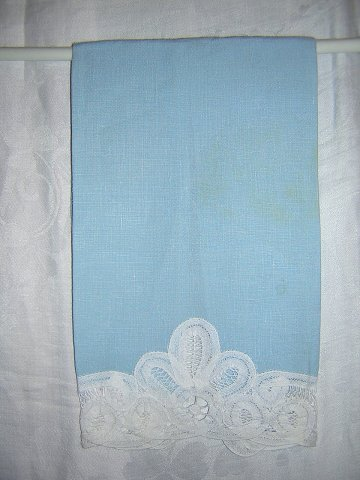 Battenburg lace on baby blue linen hand guest towel finger tip vintage linens hc1088