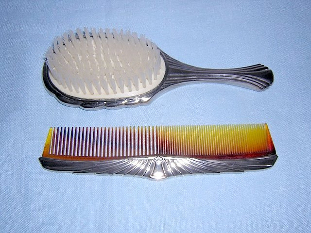 Silver backed comb and brush Art Deco style plate unused hc1097