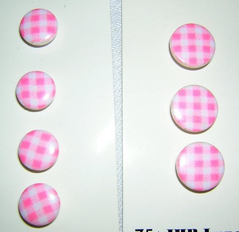27 Vintage plastic dress buttons pink white check 2 sizes hc1101