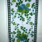 2 Vintage linen tea towel blue green fruit bowl & berries  hc1102