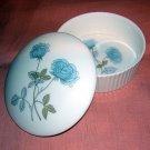 Wedgwood England bone china fluted lidded dish Ice Rose hc1121