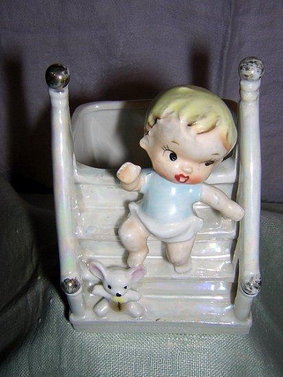 Relpo luster ware nursery planter Kewpie baby on steps 5397 vintage hc1130