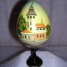 Hand-painted, signed wooden egg Ukrainian S. Kukarael #B church hc1132