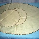 Irish Linen Stamped Table Mats Scalloped Edge Set of 3 hc1134
