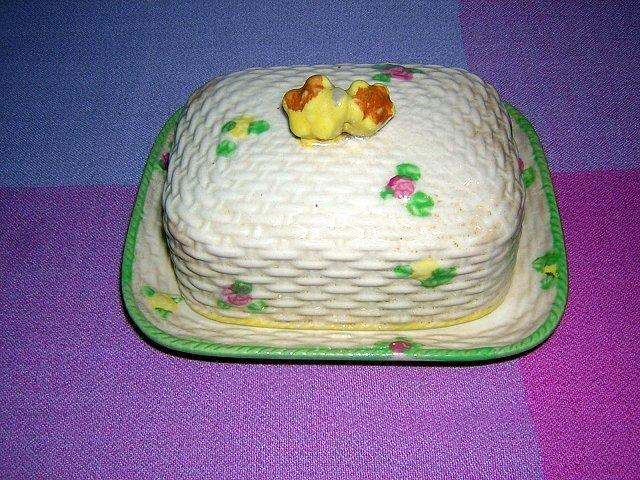 Covered butter dish Basket weave ceramic made Japan vintage hc1141
