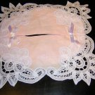 Battenburg tape lace pink tissue box cover unused vintage linens hc1149