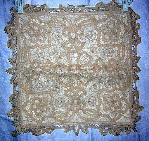 Battenburg lace cushion cover beige cotton unused vintage linens hc1151