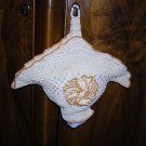Vintage Hand-crocheted flower basket thing 1940s-50s hc1155