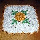 Irish crochet potholder ochre rose center perfect vintage hc1165