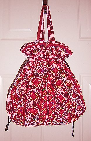 Colorful beads on red corduroy knitting needlework bag hc1196