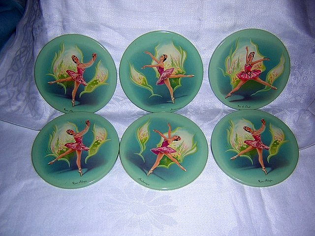Lost Set of 6 ballerina drink coasters cocktail mats Metal Box Company vintage England hc1207