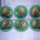 Set of 6 ballerina drink coasters cocktail mats Metal Box Company vintage England hc1207