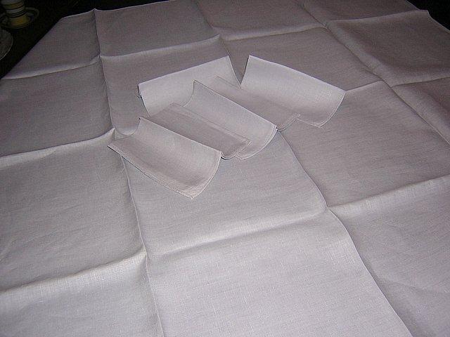 Gray linen tablecloth 4 matching napkins threadwork hem absolutely plain vintage linens hc1213