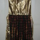 Glamorous holiday Christmas apron gold lamé plaid vintage linens hc1221