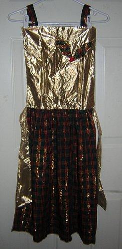 Glamorous holiday Christmas apron gold lamé plaid vintage linens hc1221