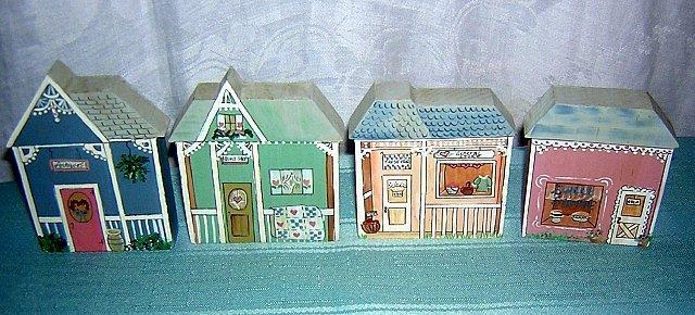 Lynn McNeill miniature shops shelf sitters hand painted 4 shoppes hc1223