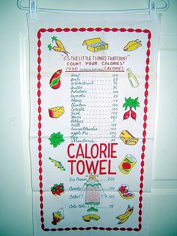 Count your calories Fat Lady on scale vintage towel hc1233