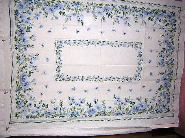 Printed linen tablecloth mixed blue flowers vintage hc1234