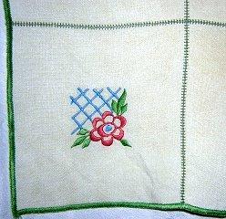 Art Deco embroidered tablecloth threadwork Art Deco vintage hc1235