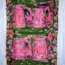 Linen towel antique tankards pink plum green unused vintage hc1247
