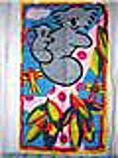 Koala bears in tree linen towel unused childlike framable hc1257