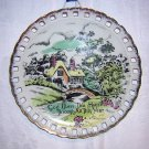 God Bless This House motto plate vintage ESD Japan thatched cottage hc1265