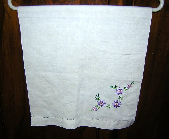 Embroidered linen towel with threadwork lavender flowers vintage linens hc1266