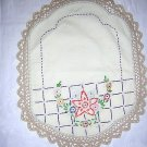Small embroidered table mat hand crocheted lace edge vintage hc1281