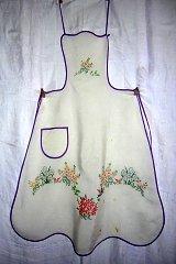 Antique hand embroidered bib apron flower garden hc1283