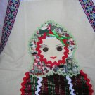 Folk art apron Peasant girl rick-rack braid batik plaid hc1285
