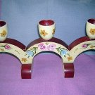 Hand painted signed 1965 triple wooden candelabra Scandinavian hc1289