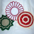 3 Hand crocheted potholders table mats in Christmas colors all excellent vintage hc1294