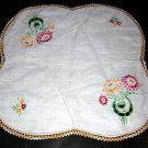 Embroidered cutwork crochet threadwork table mat vintage hc1299