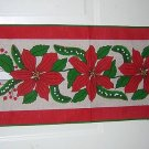 Burlap Christmas table runner candles poinsettia unused vintage linens hc1336