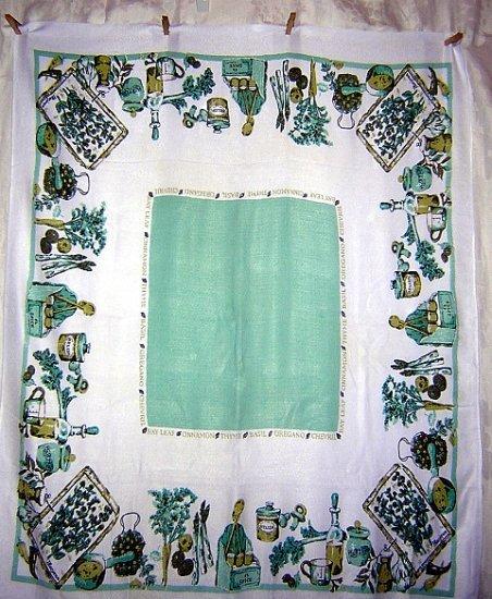 Herbs spices spun cotton tablecloth wonderful vintage linens hc1345