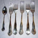 5 Birks silverplate forks with bonus spoon antique hc1348