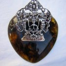 Heart shaped tortoise and silver memo clip or whats-it unusual hc1357