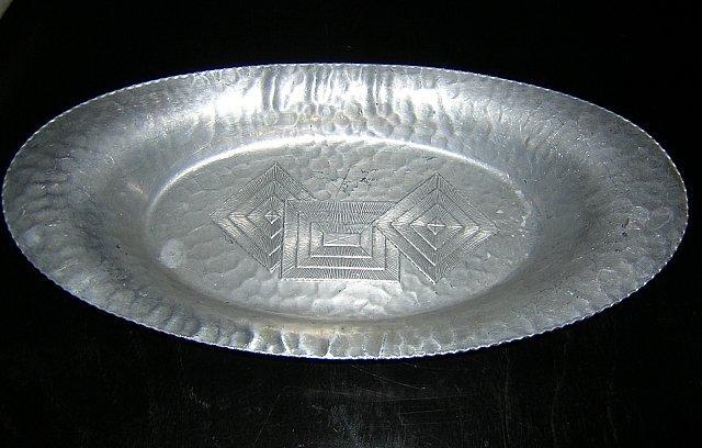 Art deco hammered aluminum tray geometric design hc1402