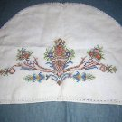 Antique cross-stitched linen kitchen appliance cover hc1404