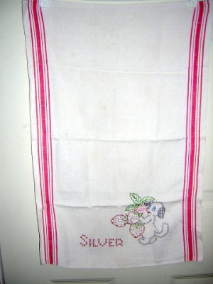 Embroidered linen silver towel strawberries puppy vintage hc1419