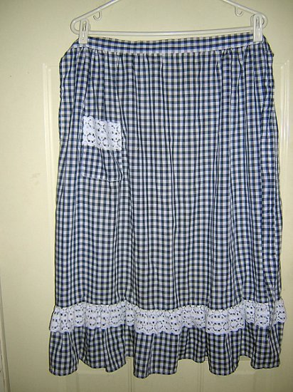 Navy & white gingham check half apron w lace trim midi length hc1420