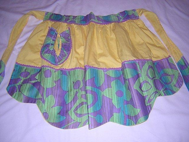 Yellow hostess apron flower power trim rickrack vintage hc1431