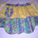Yellow hostess apron flower power trim rickrack vintage hc1431