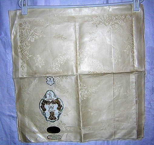 3 Irish linen damask napkins Gold Medal unused vintage linens hc1440