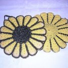 2 Hand crocheted potholders hanging loops lurex accents vintage hc1442