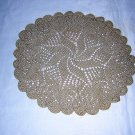 Pair of knitted oatmeal doilies pinwheel centers unused vintage hc1491