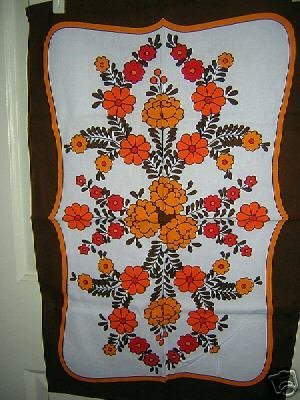 Retro cotton towel bold bright flowers unused vintage hc1452