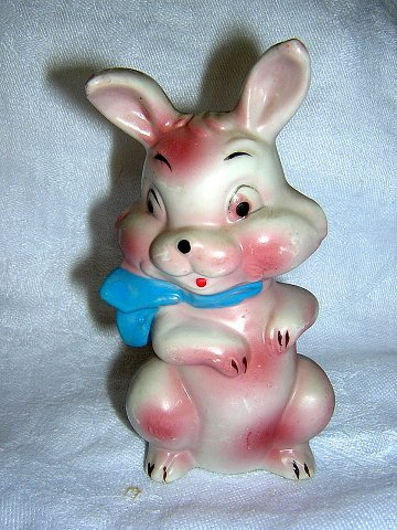 Antique flat rabbit figurine made in Japan cold paint hc1473